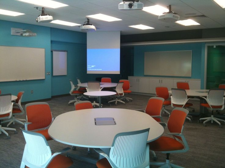 This classroom is inviting yet efficient--easy for small group discussions and large group presentations without need to change the room around!
