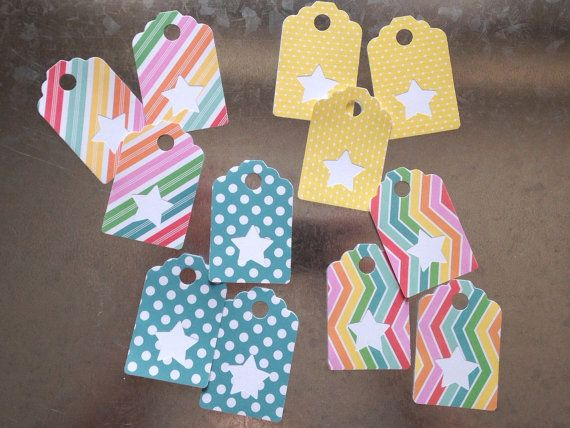 Stars Assorted Gift Tags 12 Pack by LYHHandmadeGifts on Etsy