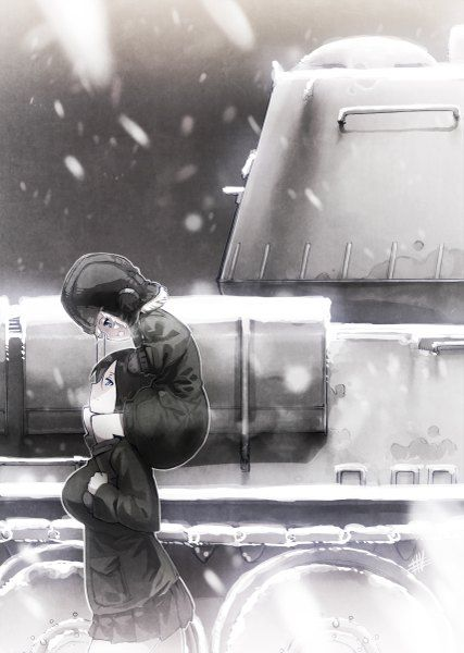 Anime picture  855x1200 with   girls und panzer  katyusha  nonna  wadatsumi garland  tall image  blush  short hair  open mouth  blue eyes  black hair  blonde hair  smile  fringe  multiple girls  profile  monochrome  happy  snow  looking down  snowing