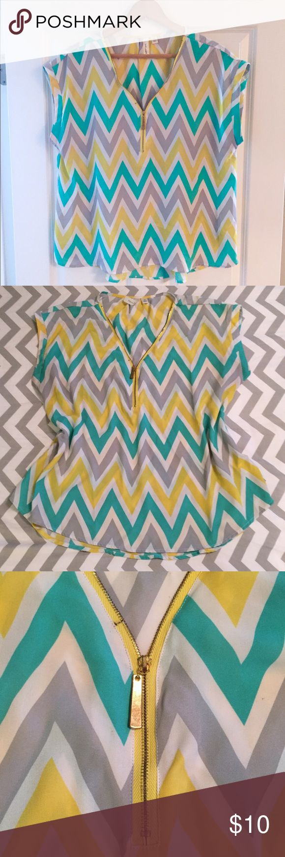 Tacera Chevron Top Sheer top with large chevron pattern in yellow, turquoise, gray and white. Gold zipper detail around neckline. Zipper goes halfway up and then has a stop as shown in picture 4. There is a small ink mark along the zipper as shown in the pictures, but otherwise Top is in perfect condition. Bust is 24, length is 26. Tacera Tops