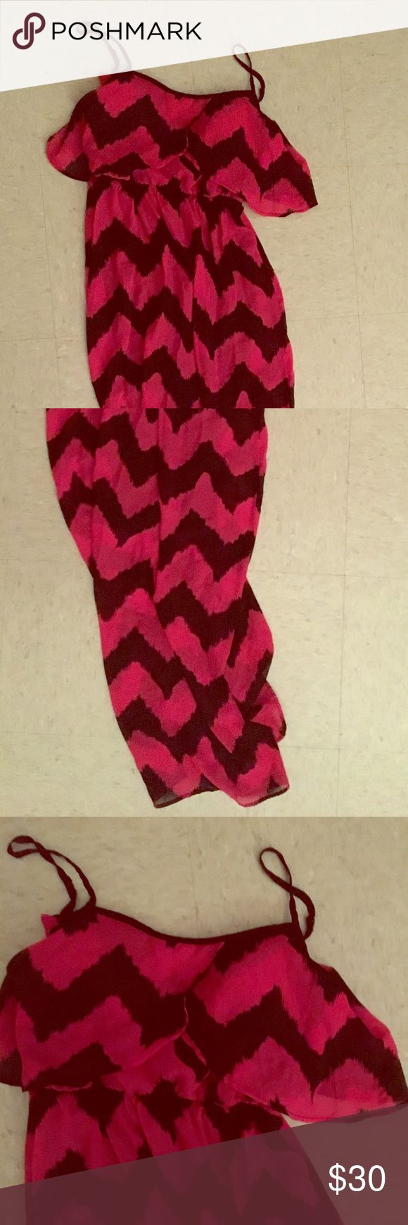 Pink and Black Chevron Summer Tank Maxi Dress Pink and Black Chevron Summer Tank Maxi Dress - Make me an offer! Dresses Maxi
