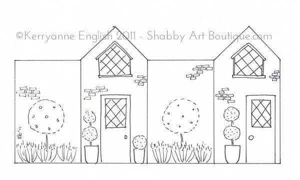 Shabby Art Boutique - DIY Village Shops - pink terrace house pattern