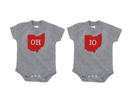 """Ohio State """"OH"""" and """"IO"""" Twin Onesie Set 