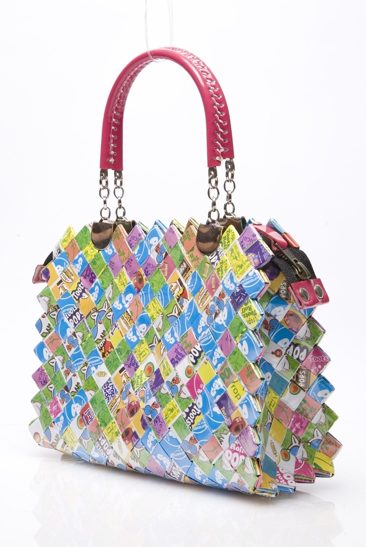 Nahui Ollin Candy Wrapper Handbag.This handbag is made from recycled materials. Defective sweet wrappers are rescued before being brought to landfills and used in the construction of each bag. This allows for the design of unique materials. #Eco-Fashion.