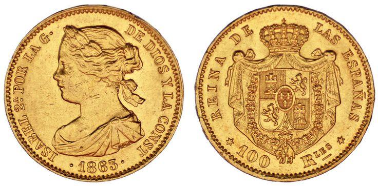 100 GOLD REALES/ORO. ISABELLA II-ISABEL II. MADRID 1863. XF+/EBC+.