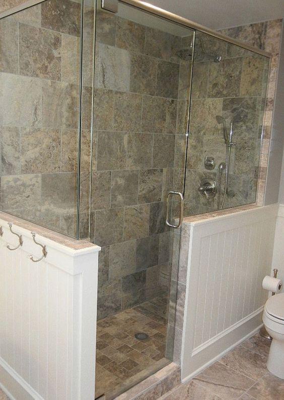 Bathroom remodel  travertine marble  pedestal soaker tub  glass shower 42 best A1C Shower half walls images on Pinterest   Bathroom ideas  . Soaker Tub With Shower Surround. Home Design Ideas