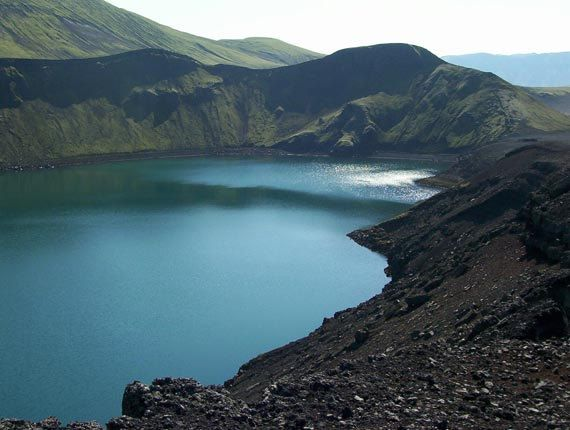 Iceland photography, nature print in blue and green, teal and black - Crater Lake - Made by Gia from $30.00