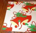VINTAGE CHRISTMAS WRAPPING PAPER UNUSED GIFT WRAP MCM RETRO BELLS RED YELLOW