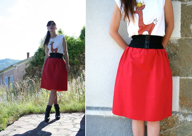 my creations, #deer #red #skirt #fashion #style #cool #design #retro' #girl #fashionblog #fashionblogger