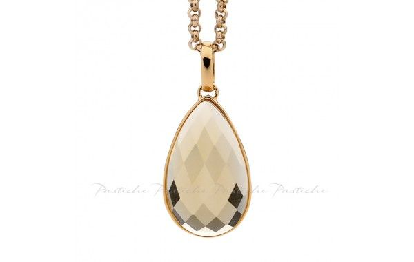 The Sahara Collection from Pastiche combines the rich colours of the desert and the skilfully crafted patterns inspired by its people.  Ornate detailing, bold shapes and a scattering of jewels form a collection which radiates beauty.  Champagne crystal pendant, set in rose gold plated silver.