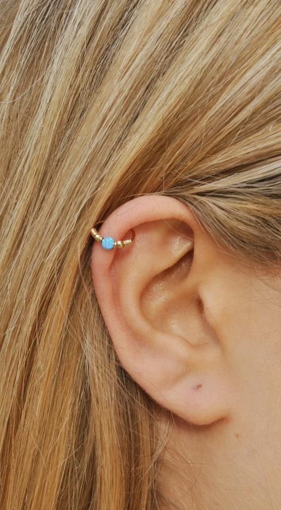 Extra thin nose hoop Helix hoop Thin cartilage hoops gold 14k Opal daith earring Hex Opal cartilage hoop earring White opal nose hoop