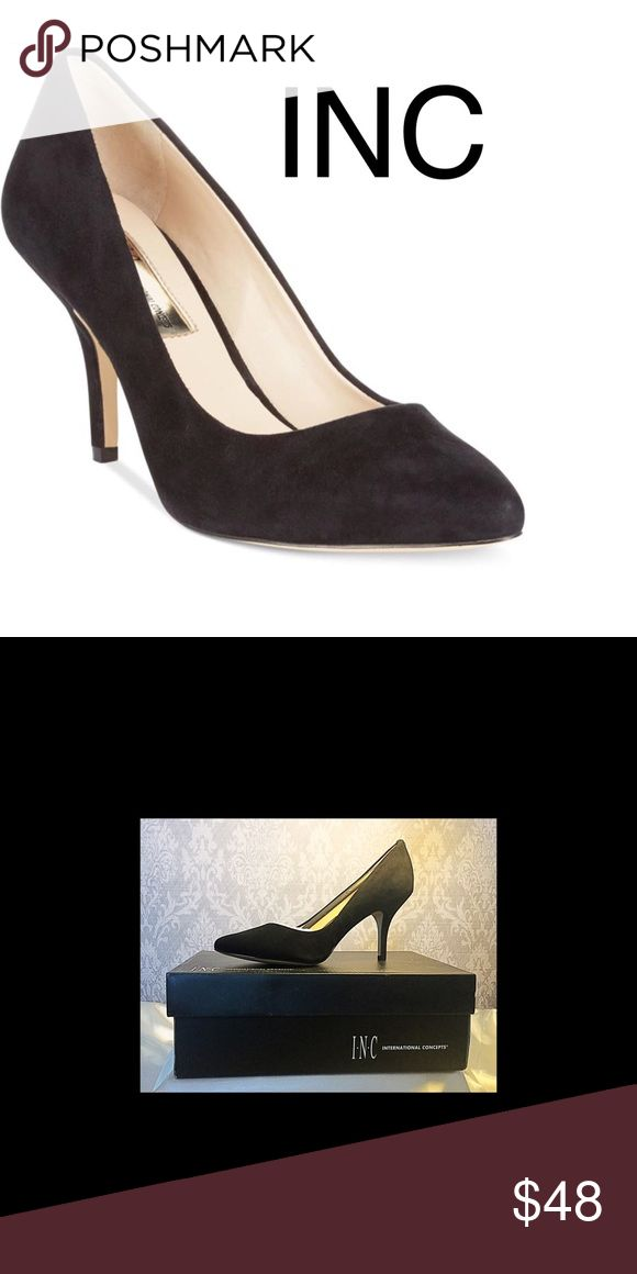 "NEW IN BOX INC Pumps NEW IN BOX. INC Women's Zita Pointed Toe Pumps in Black Suede. Memory foam sock for added comfort with a 3"" covered heel.  Size 8M Bandolino Shoes Heels"