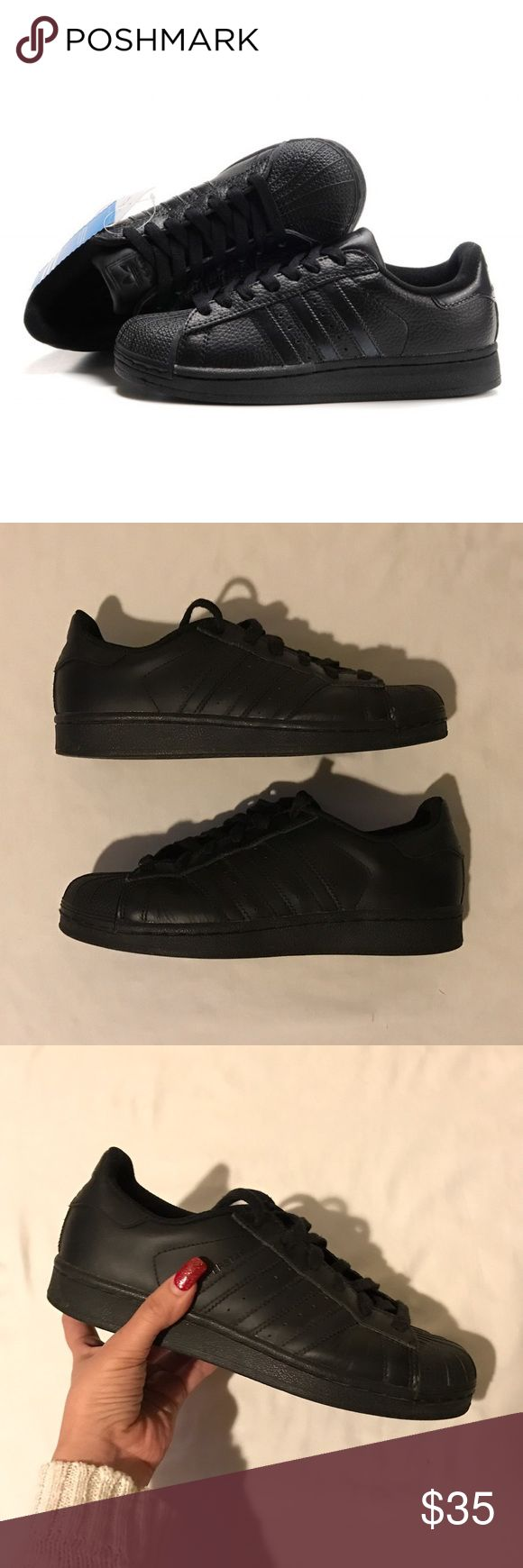 All black adidas superstar Good condition all black adidas superstar. Only worn to work. ✨ Adidas Shoes Sneakers