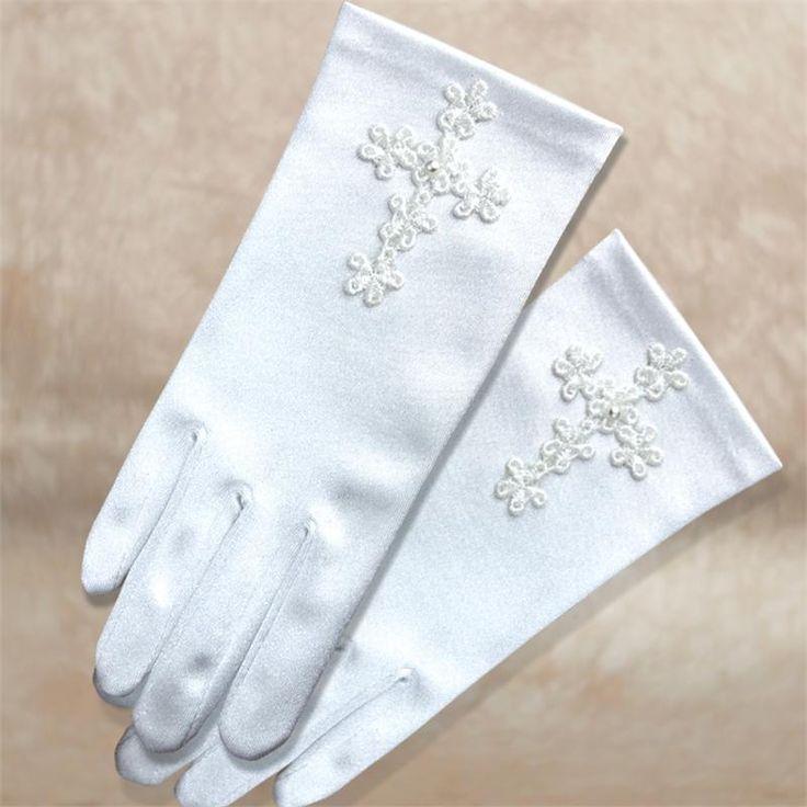 First communion gloves | First Communion Gloves with Venise Cross (#33261)
