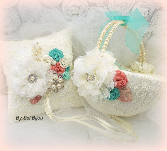 Bridal Ring Bearer Pillow And Flower Girl Basket Set By SolBijou 205