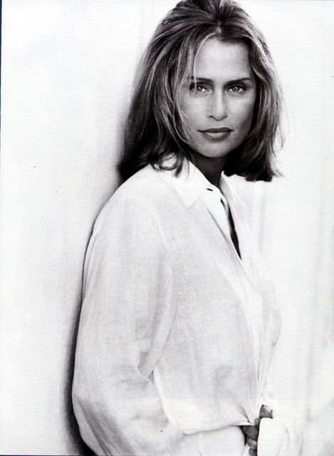 Lauren Hutton in Classic, white Shirt.
