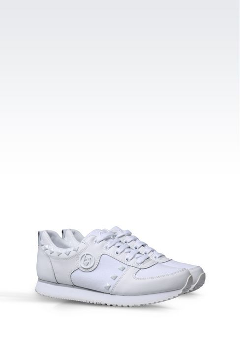 Sneakers Allacciate Donna Armani Jeans - SNEAKER IN CANVAS E PELLE CON BORCHIE Armani Jeans Official Online Store
