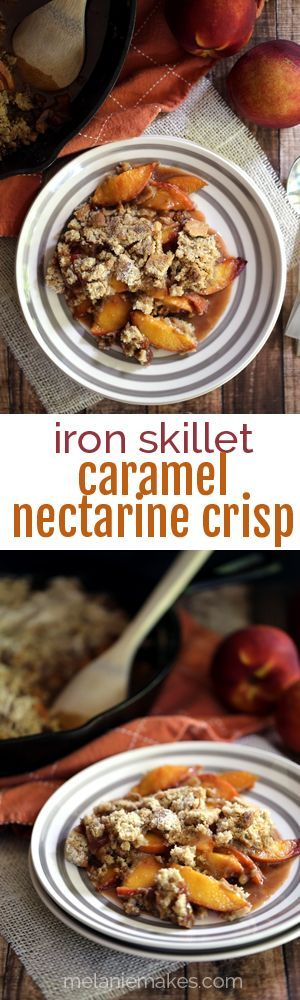 This Iron Skillet Caramel Nectarine Crisp is anything but ordinary!  Slices of fresh nectarines are tossed with allspice and caramel before being topped with a crumble that includes crushed gingersnap cookies.  Warm weather perfection!