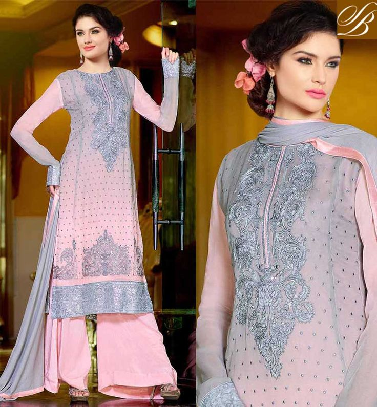 PUNJABI WEDDING DRESSES LONG KAMEEZ TRADITIONAL DRESS DESIGNS GREY AND PINK GEORGETTE SUIT WITH SANTOON SALWAR AND WONDERFUL CHIFFON DUPATTA