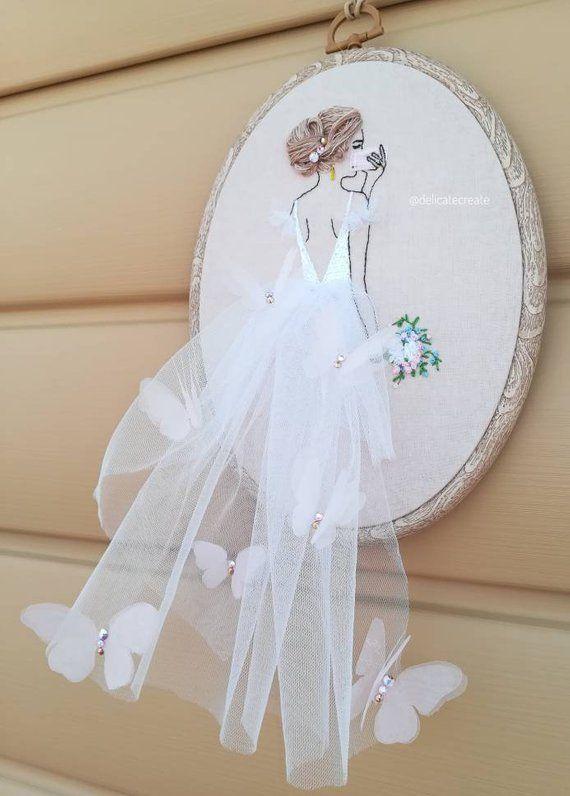 Portrait de mariée brodé Custome Wedding Broderie Floral Hoop Art Wedding Wedd…