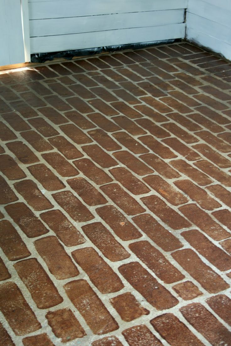 Similar to my floor. Painted to look like brick patio. Close to the ...