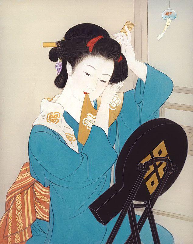 女性イラスト 美人画 湯上がり [Kisho Tsukuda]