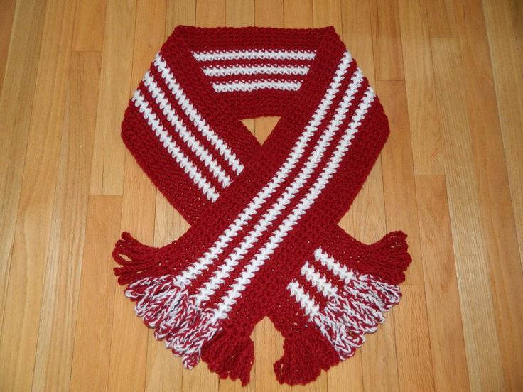 NEW JUST MADE! HAND CROCHET CARON YARN SCARF w/ LOOPY FRINGE RED & WHITE