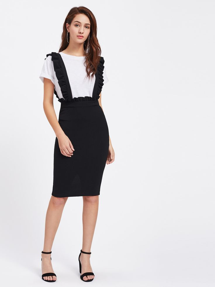 Shop Frill Detail Pinafore Skirt online. SheIn offers Frill Detail Pinafore Skirt & more to fit your fashionable needs.