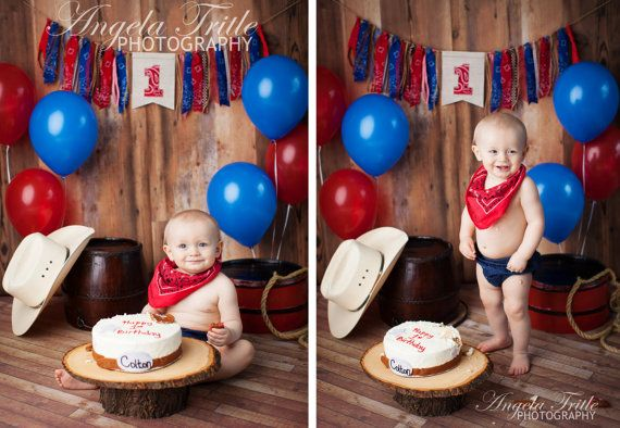 Cowboy first birthday highchair rag banner by GiddyGumdrops