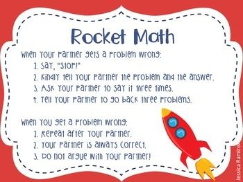 This cute anchor chart serves as a reminder for students when doing Rocket Math! It tell students how to respond to their partner.