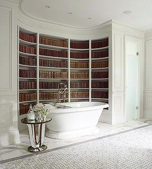Bookshelves. Bathtub.