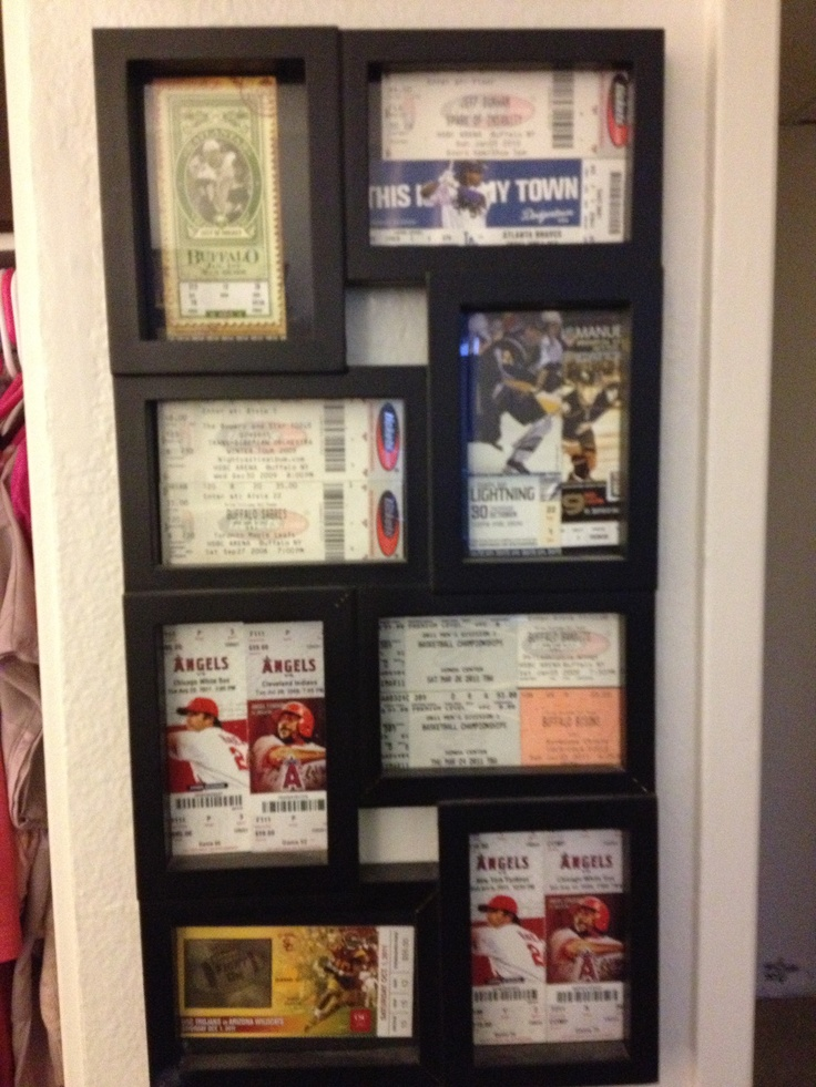 i have a million ticket stubs so i bought a cheap frame and put them in