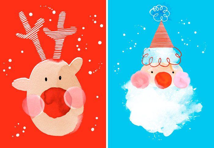 Margaret Berg Art: Reindeer+&+Santa+Blue+Red