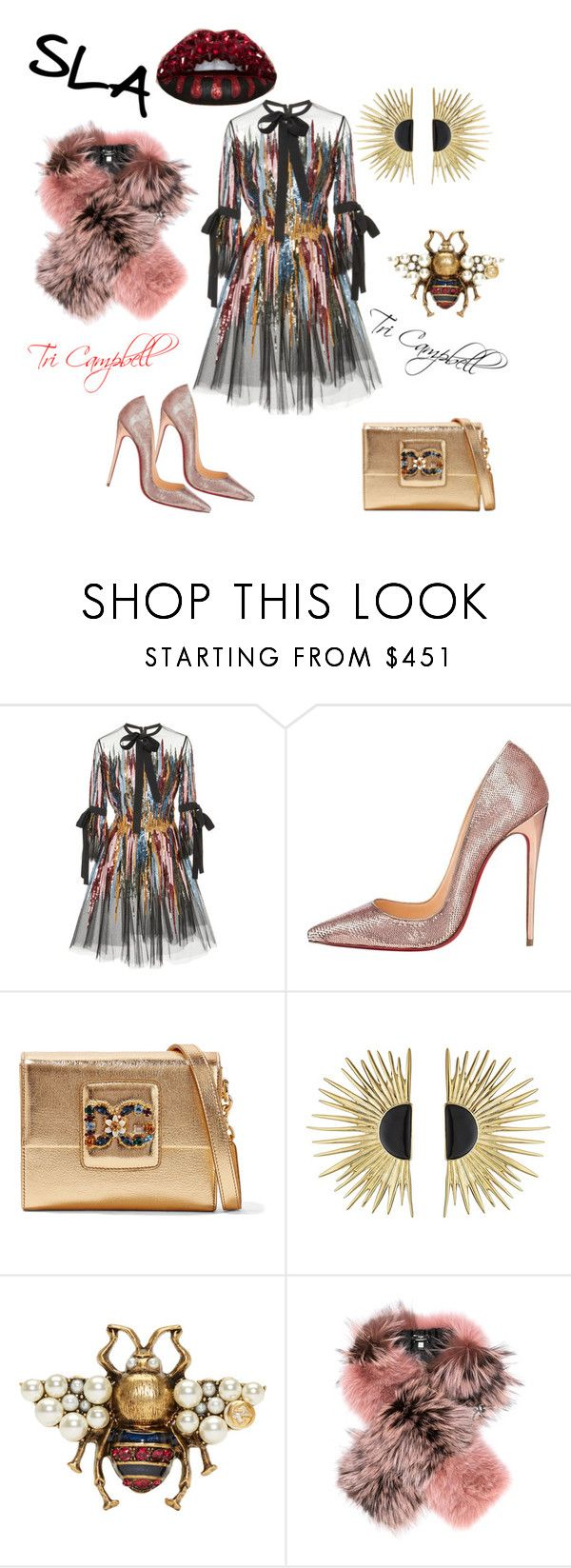 """2018"" by tritheslaqueen on Polyvore featuring Elie Saab, Christian Louboutin, Dolce&Gabbana, Aurélie Bidermann, Gucci and Fendi"