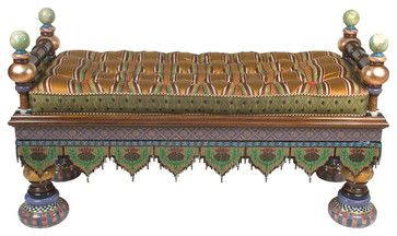 mackensie childs pillows | Preposterous Bench | MacKenzie-Childs eclectic benches