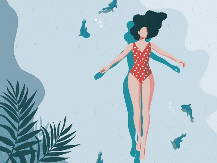 Melancholy  Melancholy summer swiming sea flat fashion vector illustrator illustration graphic character charachter