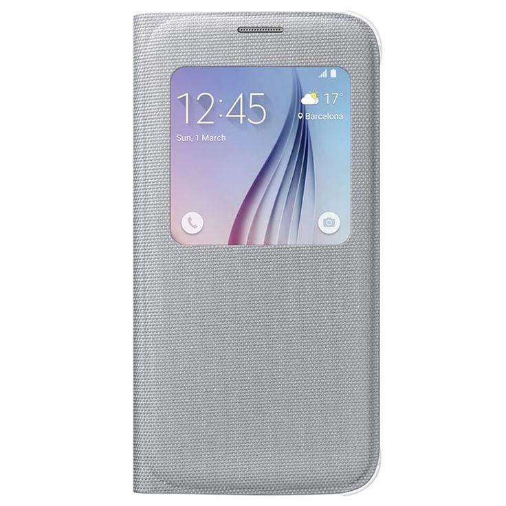 Samsung Galaxy S6 S-View Flip Stoff Veske EF-CG920BS - Sølv