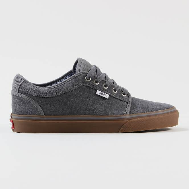 vans chukka low grey & gum pfanner skate shoe