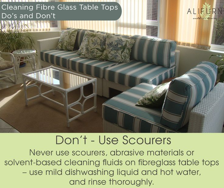 Fibreglass table tops are low-maintenance, but need to be treated right! #OutdoorFurniture #PimpMyPatio #Outdoorstyle