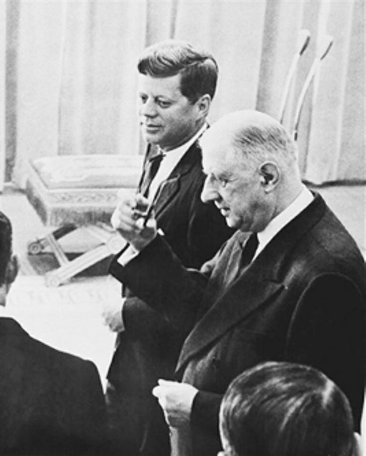 President Kennedy's Visit to France - May 31 - June 2, 1961 President John Kennedy and his French host, President De Gaulle, get together at Orly Airport in Paris, on May 31, 1961 on Kennedy's arrival in the French capital. The two are shown in an airport salon after exchanging greeting speeches.❤✾❤✾❤❁❤❃❤❁❤❁❤ http://en.wikipedia.org/wiki/John_F._Kennedy      http://en.wikipedia.org/wiki/Charles_de_Gaulle