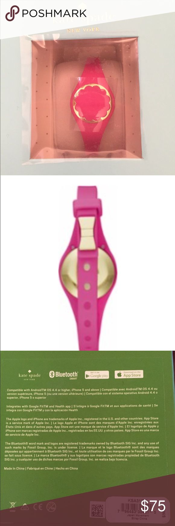 Kate Spade Activity Tracker! Compatible with AndroidTM OS 4.4 or higher and IPhone 5 or higher.  Bluetooth connectivity to Kate Spade App. NEW in a sealed box. Pink with gold scallops. kate spade Accessories Watches
