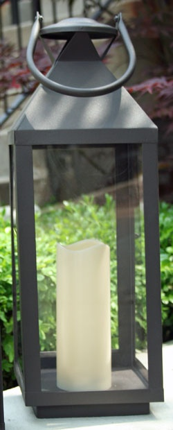 20 Inch Extra Large Outdoor Lantern - 5 Hr Timer LED Candle
