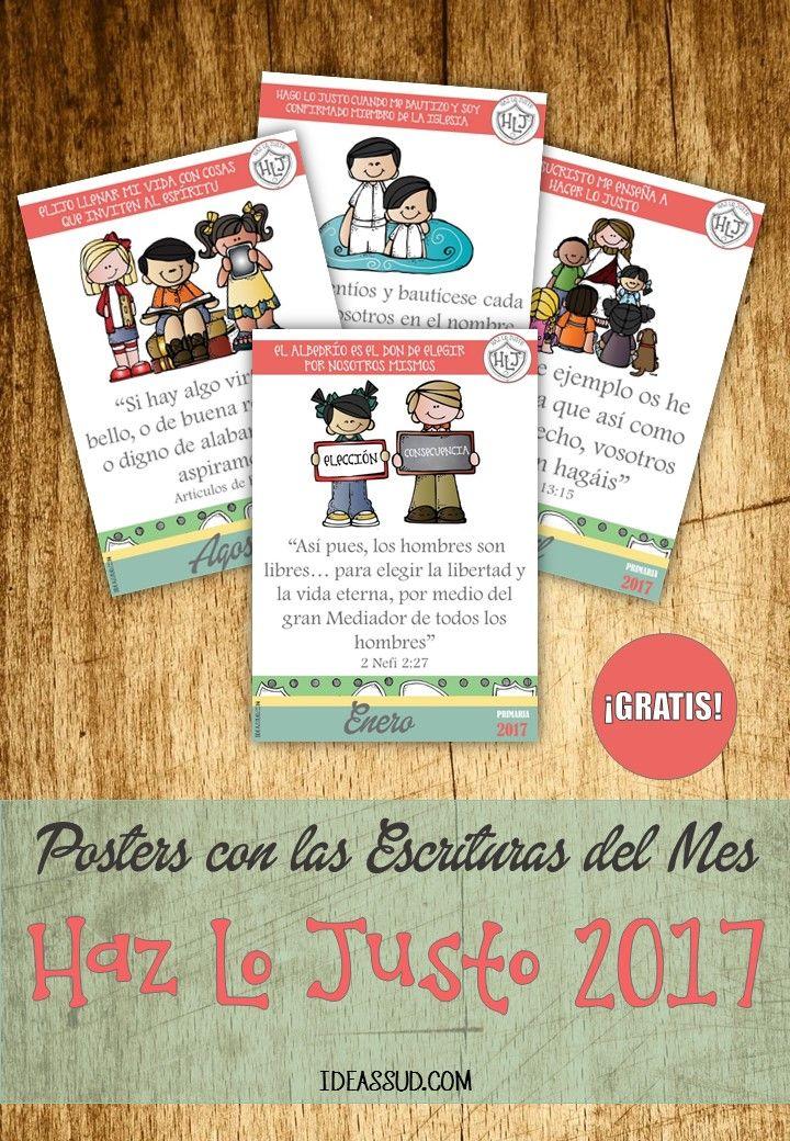 """POSTERS DE LAS ESCRITURAS DEL MES """"Haz Lo Justo 2017"""" Por: Ideas SUD con imágenes de Melonheadz"""