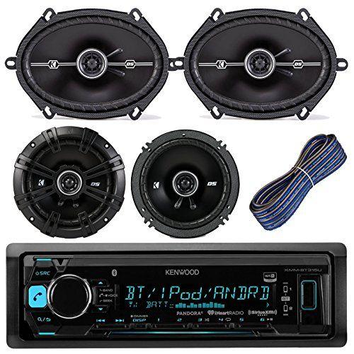 Kenwood KMMBT315U Car Stereo Receiver With Bluetooth USB AUX AM FM Bundle Kit With 2 Kicker 41DSC684 6×8″ Car Audio Speakers + 2 Kicker DSC654 6.5″ Speaker + Kicker 20-Feet 16-AWG Speaker Wire