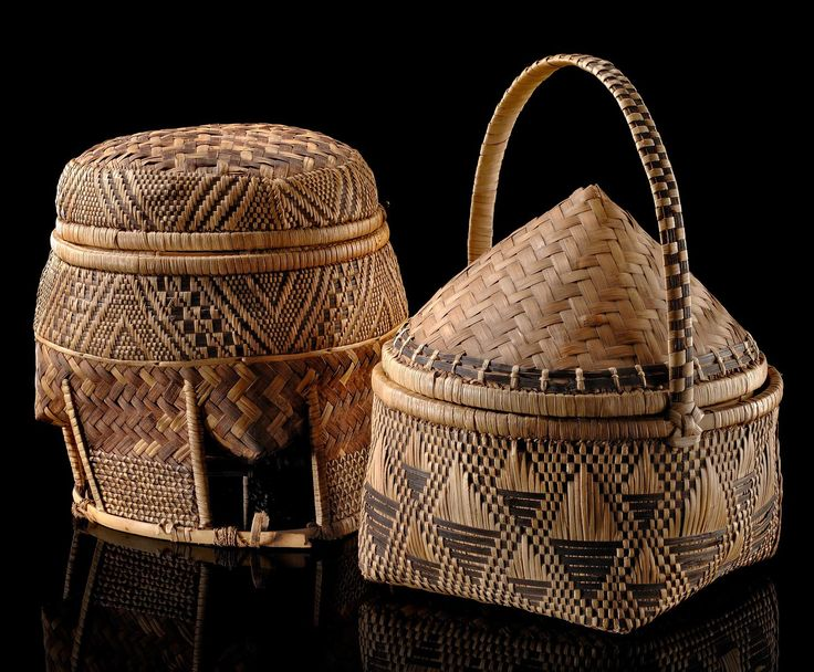 Africa | Two storage baskets from the Democratic Republic of Congo | Natural light and dark brown dyed fibers