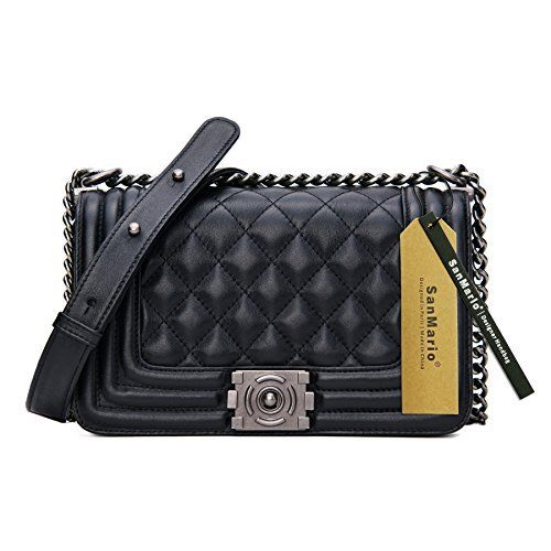 New Trending Cross Body Bags: SanMario Designer Handbag Lambskin Classic Quilted Grained Flap Metal Chain Womens Crossbody Shoulder Bag Black 20cm/8. SanMario Designer Handbag Lambskin Classic Quilted Grained Flap Metal Chain Women's Crossbody Shoulder Bag Black 20cm/8″  Special Offer: $79.99  333 Reviews Offer: Factory Direct Sales: Better Quality with Cheaper Price. Condition: 100% Brand New and Luxury Quality. Outer...