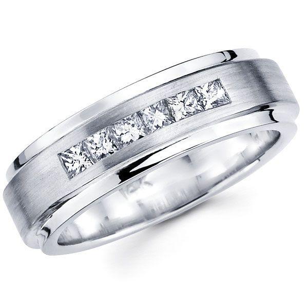 14K White Gold Princess Diamond Wedding Ring