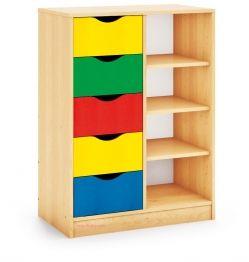 Mueble escolar multiactividades estanterias y cajones maxicolor