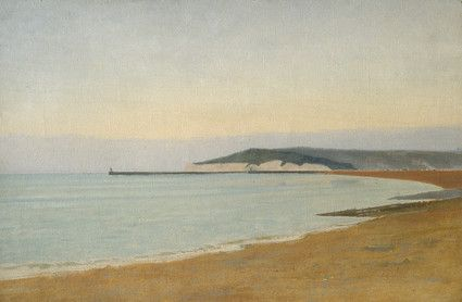 Newhaven. A deserted bay, with cliffs and jetty beyond. View across a bay to headland with harbour wall and lighthouse. Beach in foreground.