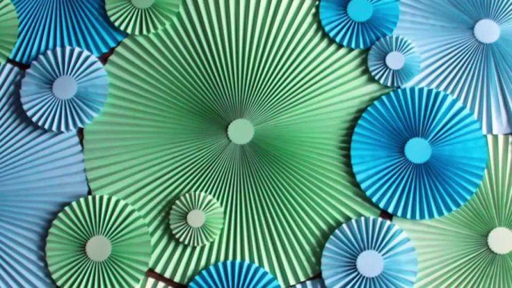 Как сделать бумажный веер d60 cm| How to Make Paper Rosette Flower - Tut...